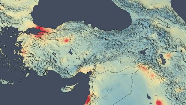 Türkiye'nin hava kirliliği haritası. NASA'ya göre İstanbul'un havası son 10 yılda %50 oranda daha fazla kirlenmiş.