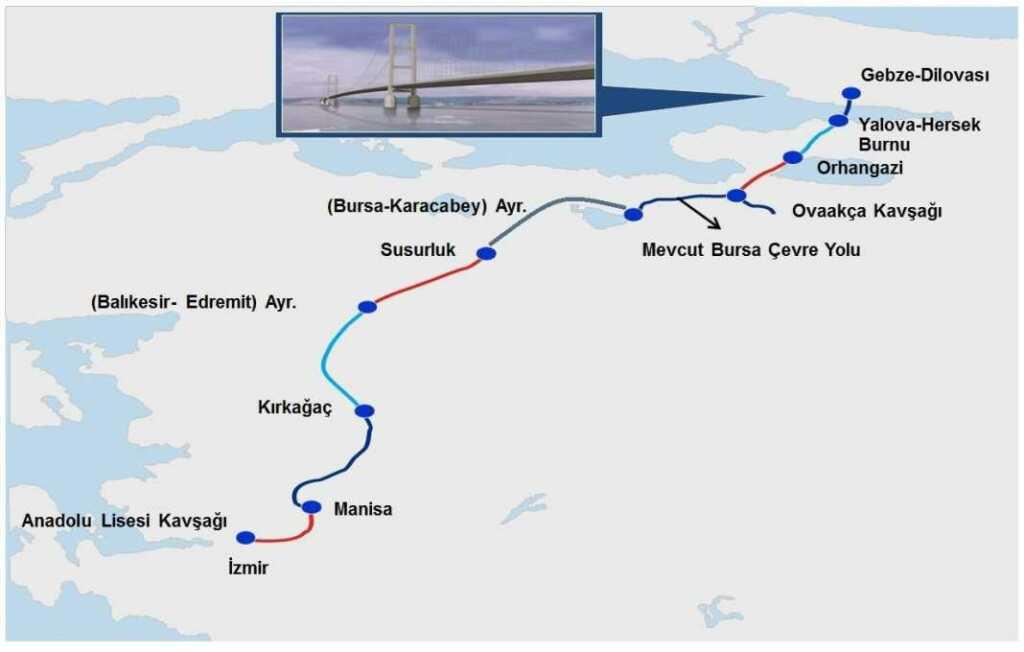 Sözleşmeye göre yapımı 15 Mart 2020'de bitecek İstanbul-İzmir Otoyolu.